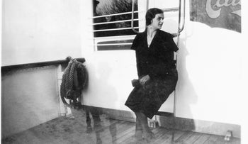 An undated handout photograph shows Clare Hollingworth, circa 1931-1934, onboard a ship to an unidentified location, made available to the media on Monday, Jan. 4, 2010.