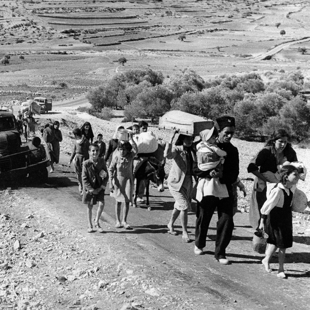 Arab refugees stream from Palestine on the Lebanon Road, Nov. 4, 1948. These are Arab villagers who fled from their homes during the recent fighting in Galilee between Israel and Arab troops.