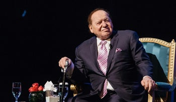 Billionaire Sheldon Adelson, chairman and chief executive officer of Las Vegas Sands Corp., attends a news conference at the company's Parisian Macao casino resort in Macau, China, on Tuesday, Sept. 13, 2016.