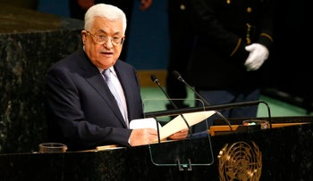 Palestinian President Mahmoud Abbas addresses the 72nd United Nations General Assembly at UN headquarters in New York on September 20, 2017.