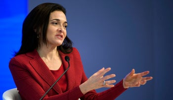 In this January 18, 2017 file photo, Facebook Chief Operating Officer Sheryl Sandberg speaks during a plenary session in the Congress Hall during the annual meeting of the World Economic Forum, in Davos, Switzerland.