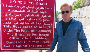 Conan O'Brien filming in the West Bank during his visit to Israel and the Palestinian territories.