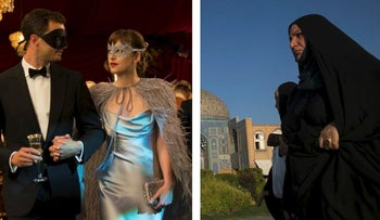 """This image released by Universal Pictures shows Dakota Johnson as Anastasia Steele in """"Fifty Shades Darker"""" and Iranian women wearing chadors pass a mosque on Naqsh-e-Jahan square in Isfahan, Iran, on Thursday, Aug. 27, 2015"""
