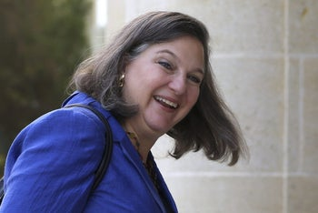U.S. Assistant Secretary of State for European Affairs Victoria Nuland arrives for a meeting with Cypriot President Nicos Anastasiades at the Presidential palace in capital Nicosia in the ethnically divided island of Cyprus, on Thursday, Oct. 13, 2016.