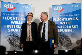 Alice Weidel, left, and Alexander Gauland, top candidates of the Alternative for Germany party, Berlin, September 18, 2017.