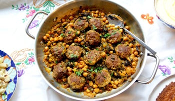 Meatballs in Swiss chard and chickpea stew.