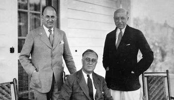 Morgenthau, President-elect Franklin D. Roosevelt and another man at Little White House, Warm Springs, Georgia, November 30, 1932.