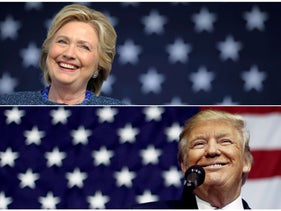 U.S. presidential nominees Hillary Clinton (top) and Donald Trump speak at campaign rallies in a combination of file photo.