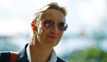 German right-wing party Alternative for Germany (AfD) co-leader in the upcoming general elections Alice Weidel arrives for a news conference in Berlin, Germany, September 18, 2017