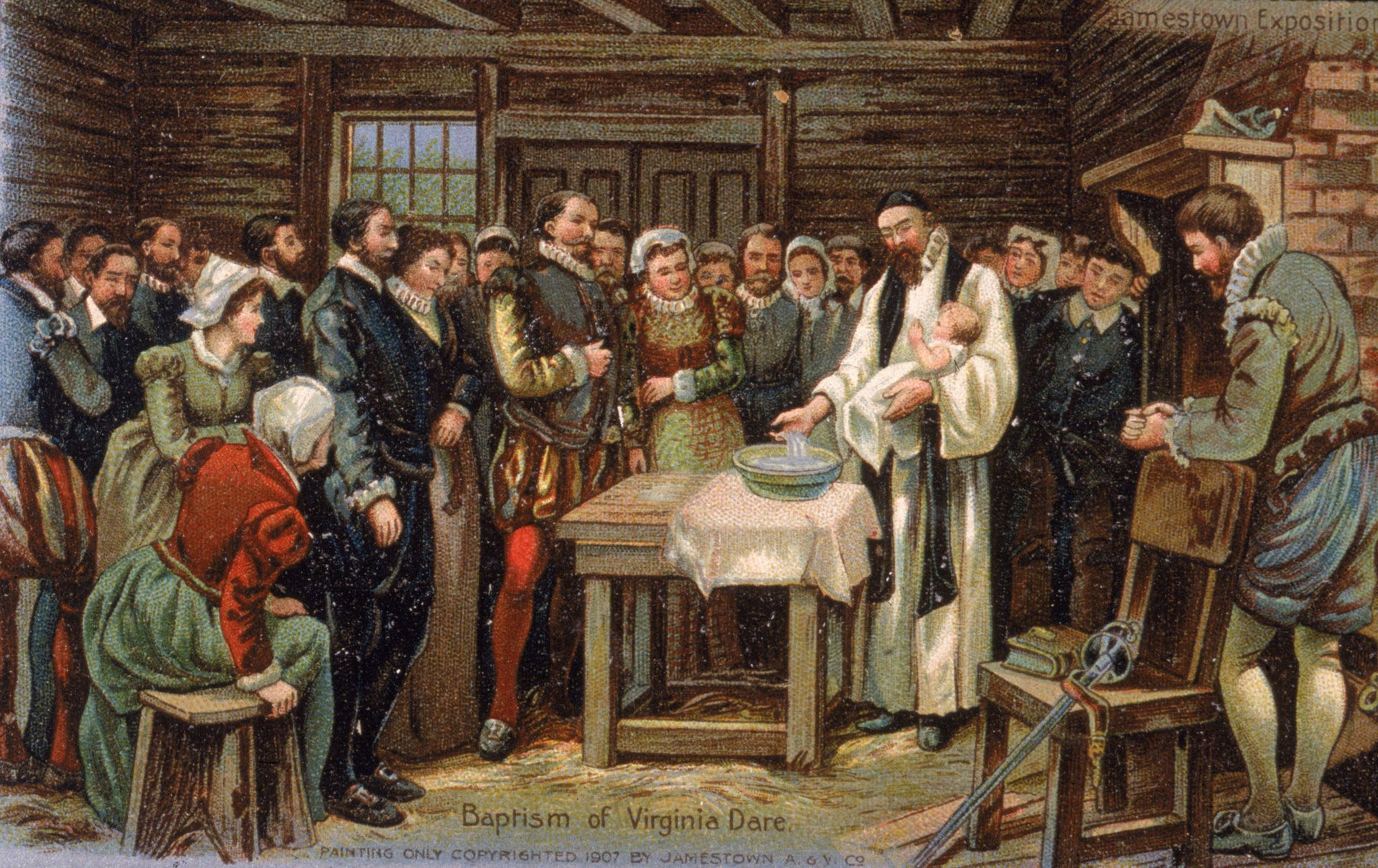 Illustration depicting the baptism of Virginia Dare, the first English child born in the Roanoke colony.