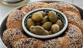 Home pickled olives and challah.