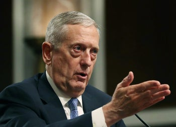 Defense Secretary nominee, retired Marine Corps Gen. James Mattis speaks during his Senate Armed Services Committee confirmation hearing on Capitol Hill, on January 12, 2017 in Washington, DC.