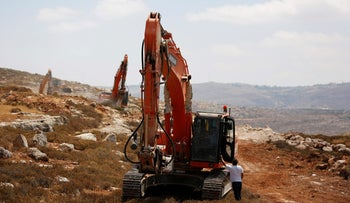 Construction work in the new West Bank settlement of Amichai, June 20, 2017.