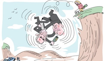 Benjamin Netanyahu and Arnon Mozes tumble off a cliff mid-fight, as Sara Netanyahu watches from above with a bottle of champagne in her hand and police await below.
