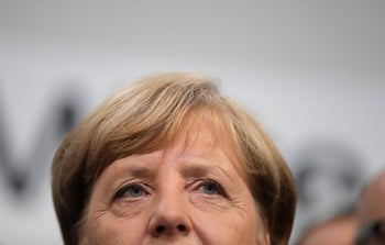 German Chancellor Angela Merkel at the Christian Democrats' headquarters in Berlin, September 24, 2017, after the parliamentary election.