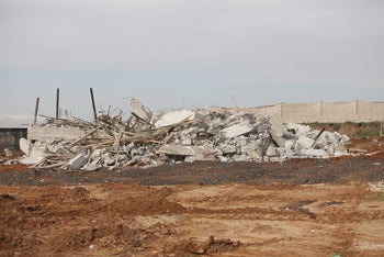 Buildings demolished by the authorities, in the Israeli Arab city of Kalansua, January 10, 2017.