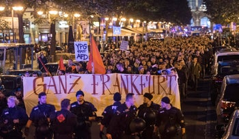 Demonstrators protest against the nationalist Alternative for Germany Party, AfD, after parliament elections in Frankfurt, Germany, September, 24, 2017.  Banner reads: Frankfurt hates the AfD.