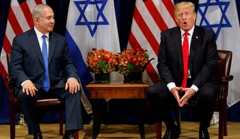 U.S. President Donald Trump speaks during a meeting with Israeli Prime Minister Benjamin Netanyahu at the Palace Hotel in New York during the United Nations General Assembly, September 18, 2017.