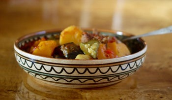 Eggplant, zucchini and tomato stew with beef (ghivech).