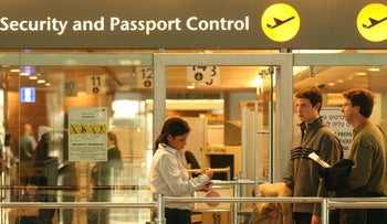 FILE PHOTO: Passport control at Israel's Ben Gurion Airport.