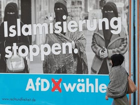 """""""Stop Islamization"""" - an Alternative for Germany election campaign poster in Marxloh, a suburb of Duisburg with a large Turkish migrant population, September 13, 2017."""