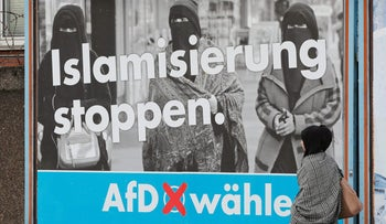 """Stop Islamization"" - an Alternative for Germany election campaign poster in Marxloh, a suburb of Duisburg with a large Turkish migrant population, September 13, 2017."