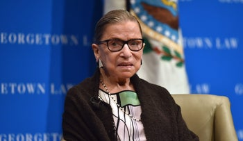 S Supreme Court Justice Ruth Bader Ginsburg looks on as she speaks to first year Georgetown University law students in Washington, DC on September 20, 2017.