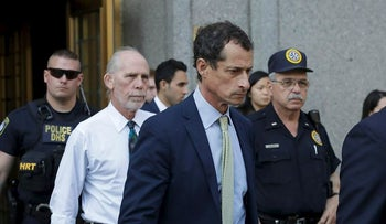 Former Congressman Anthony Weiner (D-N.Y.), center, leaves federal court following his sentencing, Monday, Sept. 25, 2017