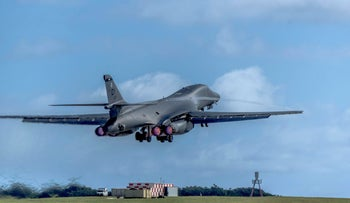 A U.S. Air Force B-1B Lancer assigned to the 9th Expeditionary Bomb Squadron, deployed from Dyess Air Force Base (AFB), Texas, takes off March 10, 2017, at Andersen AFB, Guam.