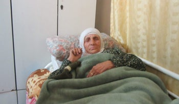 Shafiqa Juma'a recovering from her injuries, sustained after an IDF raid on her family home in the West Bank town of Kafr Qaddum on January 10, 21017.