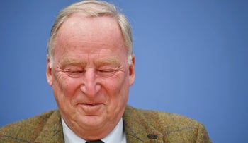 Nationalist Alternative for Germany Party, AfD, top candidate Alexander Gauland attends a party press conference in Berlin, Germany, September 25, 2017.