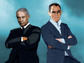 Illustration: Prime Minister Benjamin Netanyahu and Yedioth Ahronoth publisher Noni Mozes loom over Israel's Knesset