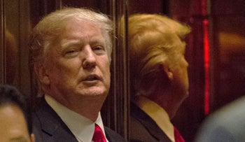 President-elect Donald Trump is seen in the elevator after speaking with the media at Trump Tower on January 13, 2017 in New York.