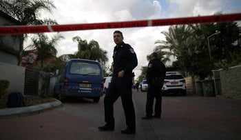 The police at the scene of a murder-suicide in Israel, March 2016.