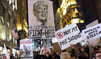 Anti-Donald Trump protests in New York.