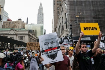 "Activists take part in the ""Rise and Resist Against WhiteSupremacy"" march in Manhattan, New York, U.S. September 18, 2017."