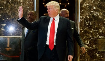 Donald Trump in the lobby of Trump Tower in New York, January 13, 2017.