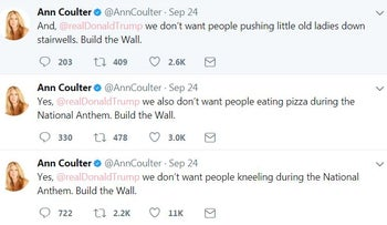 Ann Coulter criticizing Donald Trump on Twitter for not having built the wall. September 25, 2017