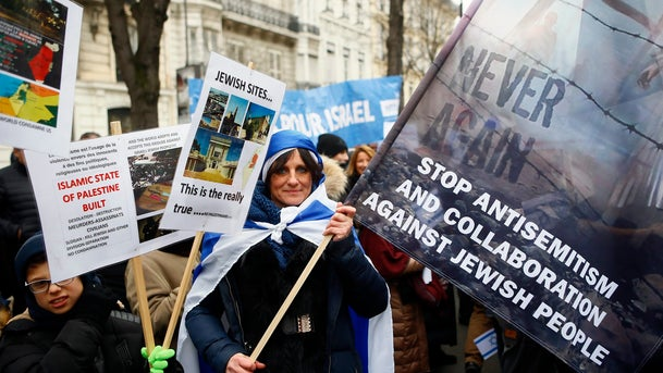 Pro-Israel demonstrators gather in front of Israel embassy in Paris, France, Sunday, Jan. 15, 2017.