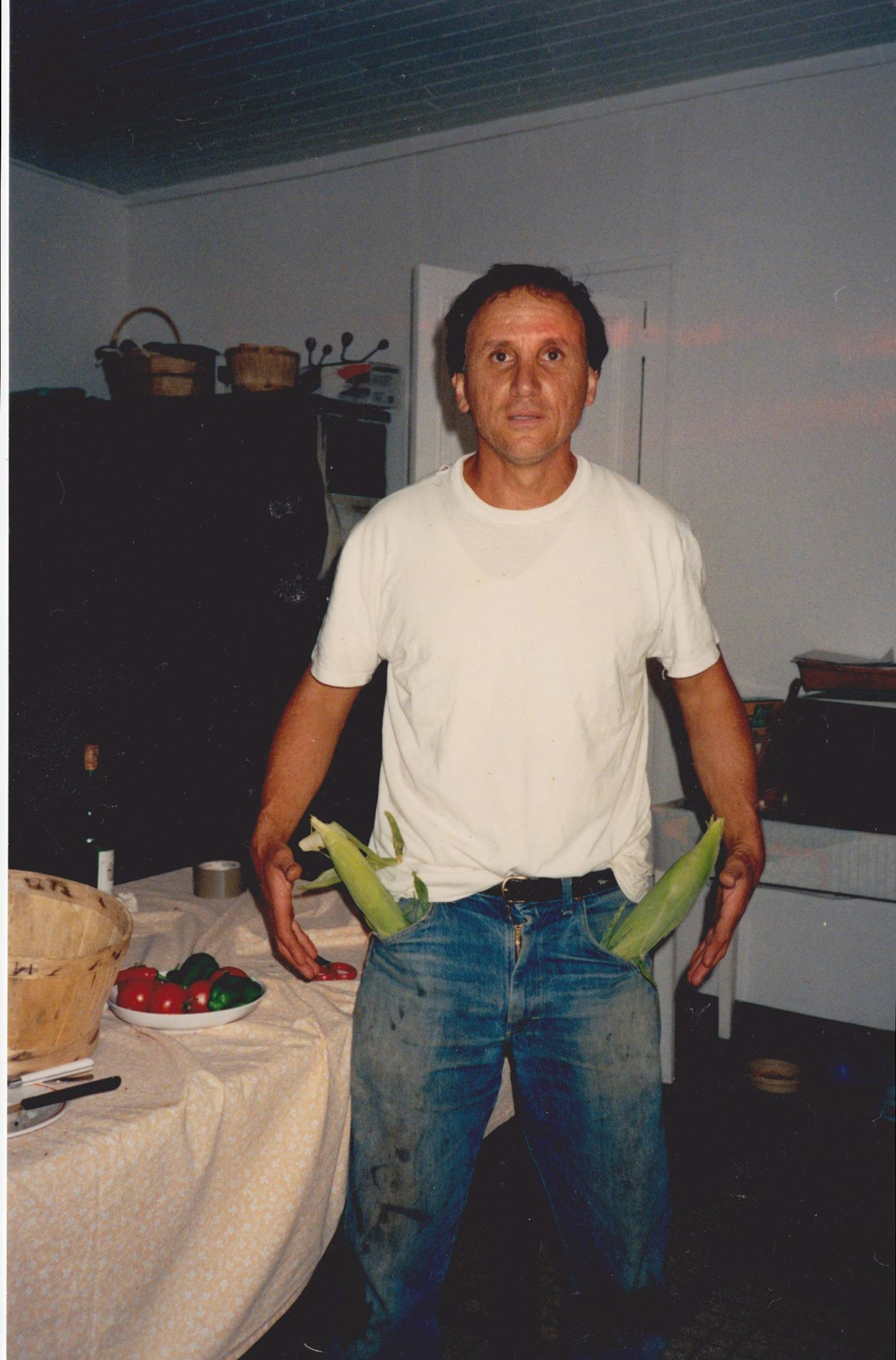 A photo of Antopolsky, with Corn Guns in his pockets, taken in France in the 1990s.