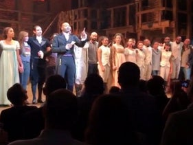 Actor Brandon Victor Dixon speaks from the stage after the curtain call in 'Hamilton' in New York, November 18, 2016.