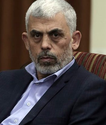Yahya Sinwar, Hamas' leader in the Gaza Strip, taking part in a meeting with Egyptian intelligence officers, Gaza City, October 3, 2017.