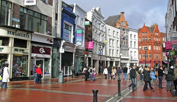 Grafton Street, a main shopping street in the center of Dublin, Ireland.