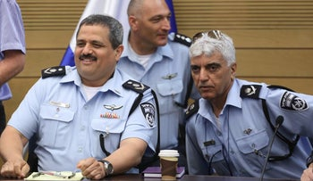 Police commissioner Roni Alsheich (left) with head of investigations Meni Itzhaki in the Knesset in July, 2016.