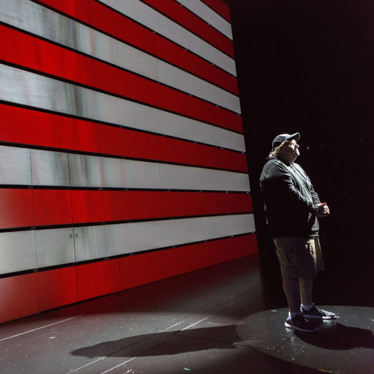 Michael Moore, starring in the one-man show 'The Terms of My Surrender,' poses for a portrait on August 17, 2017, at the Belasco Theater in New York.