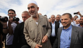 Sheikh Ra'ad Salah, head of the outlawed Northern Branch of Israel's Islamic Movement, outside Ohalei Kedar Prison, on May 8, 2016.