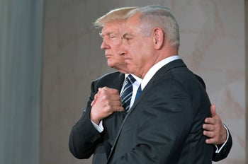 U.S. President Donald Trump and Prime Minister Benjamin Netanyahu shake hands after delivering a speech at the Israel Museum in Jerusalem, May 23, 2017.