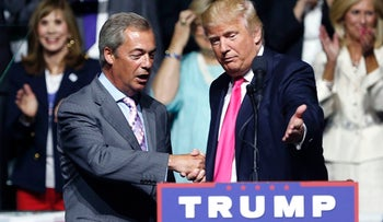 Then-Republican presidential candidate Donald Trump, right, welcomes pro-Brexit British politician Nigel Farage, to speak at a campaign rally in Jackson, Miss., Aug. 24, 2016.