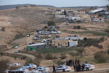 Residents and police clash in the Bedouin village of Umm al-Hiran in southern Israel, January 18, 2017.