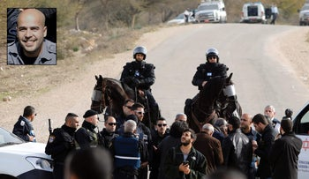 Mounted police speak with protesters in the Bedouin village of Umm al-Hiran in southern Israel, January 18, 2017. and Israeli officer Erez Levy, 37, who was killed during clashes in Umm al-Hiran after allegedly being run over.
